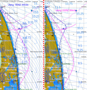 Post race comparison of 1630Z and 2225Z forecasts east of the Cape