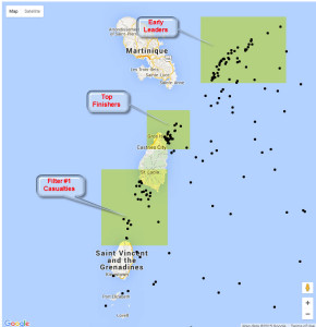 Fleet map showing positions as of 20 SEP 0100Z